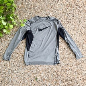Nike Pro Combat Fitted Gray Long Sleeve Shirt XL